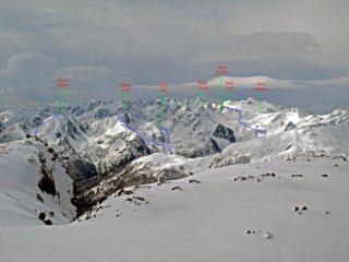 Itinerari per la Testa del Ferro, la Rocca Verde ed il colle di Stau, visti dal Vanclava