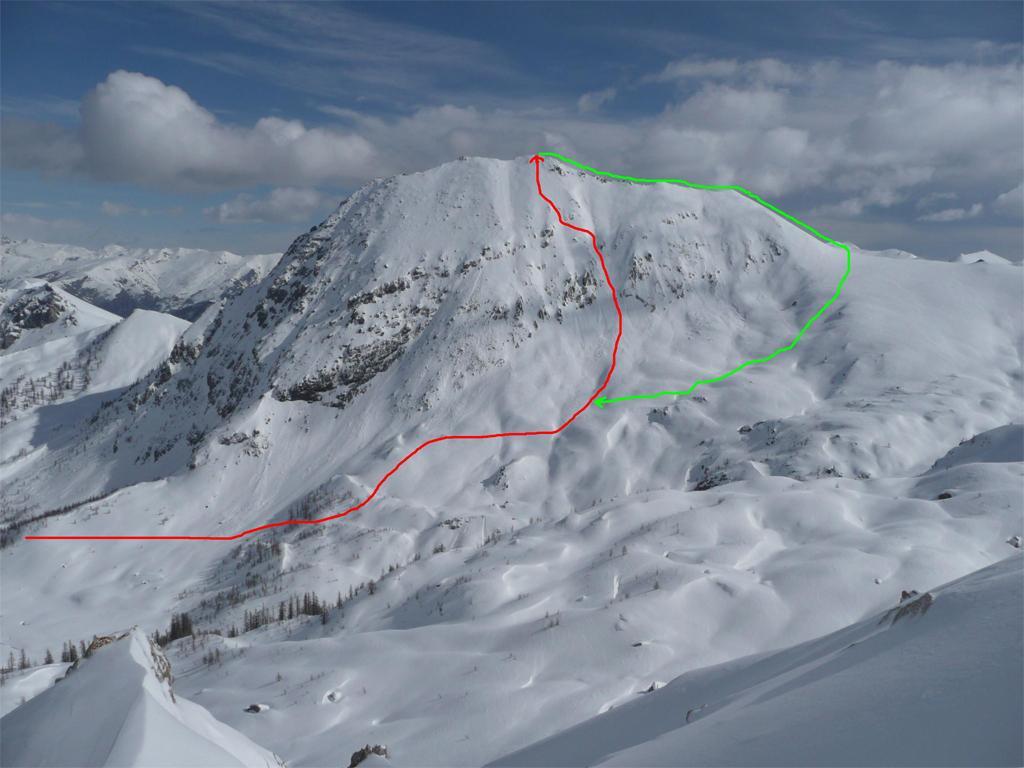 In rosso la salita,in verde la discesa(foto fatta salendo al Becco Grande a marzo 2010)
