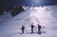 il ripido e bellissimo versante nord; itinerario del 19/3/1989