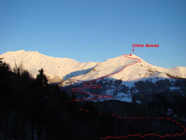 percorso per la Asnas (la cima non si vede)