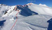 ultimo tratto del percorso per raggiungere la cima (1-1-2011)
