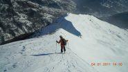 Discesa dalla sella sulla cresta con Val Frejus