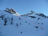 il percorso dalla piana dell'alpe Palù alla conca del Lac Perrin