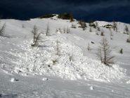 Piccola slavina nei pressi del colle del Lago Bianco
