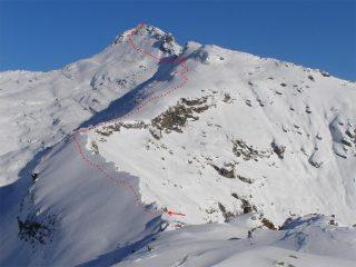 Percorso dalla cresta alla cima visto dalla vetta della Palasina