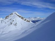 La Vallocci in primo piano e sullo sfondo il gruppo del Bernina