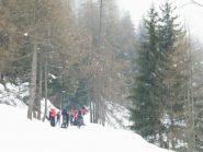 partenza sotto una debole nevicata