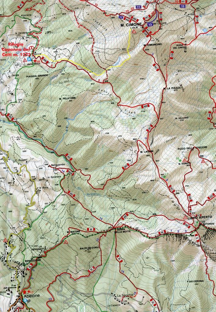 cartina della zona e itinerario seguito (in giallo)