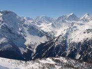 Panorama da Pizzo Troggi (2309 m): a sinistra Pizzo Diei, sullo sfondo Pizzo Moro, Pizzo di Boccareccio, Pizzo Cornera