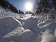 Il canalino di salita verso Alpe Fontane, anche qui già assestato