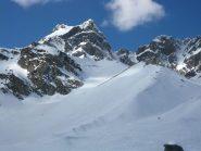Il panorama si apre e la neve aumenta nettamente dai piani della Rossa