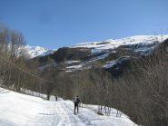La prima parte dell'itinerario con poca neve