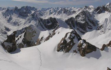 la cresta verso la cima sud