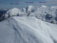 tre punte scialpinistiche viste dalla vetta