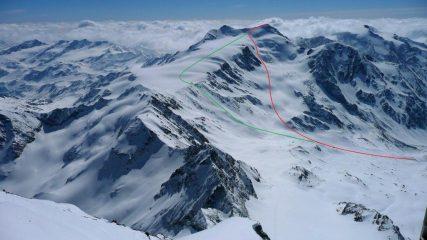 In rosso la salita al Cevedale per il ghiacciaio di Cedec, in verde per il rif.Casati
