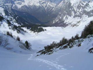 l'alto Vallone di Serpentera visto dalla sommità del canalone