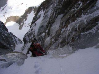 Diego in salita sulla cascata della Forcella