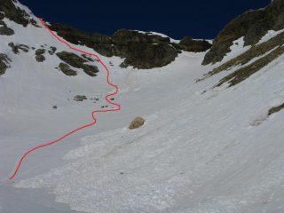 il ripido pendio che porta sul ghiacciao