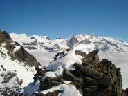 Il gruppo del Monte Rosa dalla vetta del Petit Tournalin