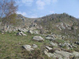 Il versante di salita dopo il bivio 1645