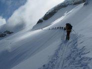 Il traverso che immette sul ghiacciaio