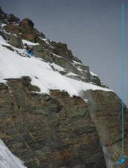 traverso di raccordo tra nevai superiori e parte alta della