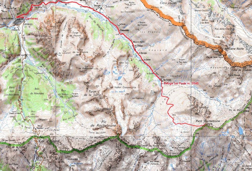 cartina e itinerario seguito per la salita alla cima