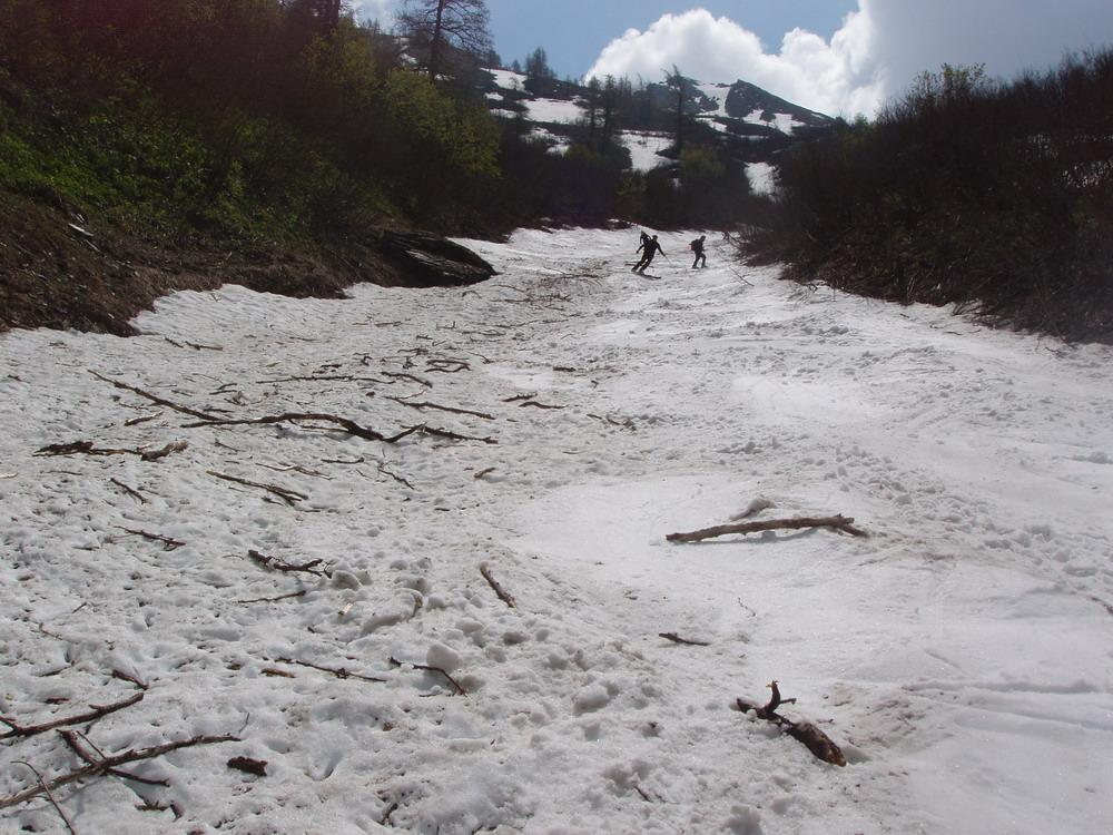 canale finale che scende al Piano di Bout du Col