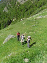 in salita sui dossi erbosi verso l'alpe Seivaz