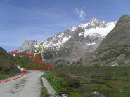 Giro delle Pyramid Calcaires,in rosso la salita,in giallo la discesa al rifugio chiudendo l'anello