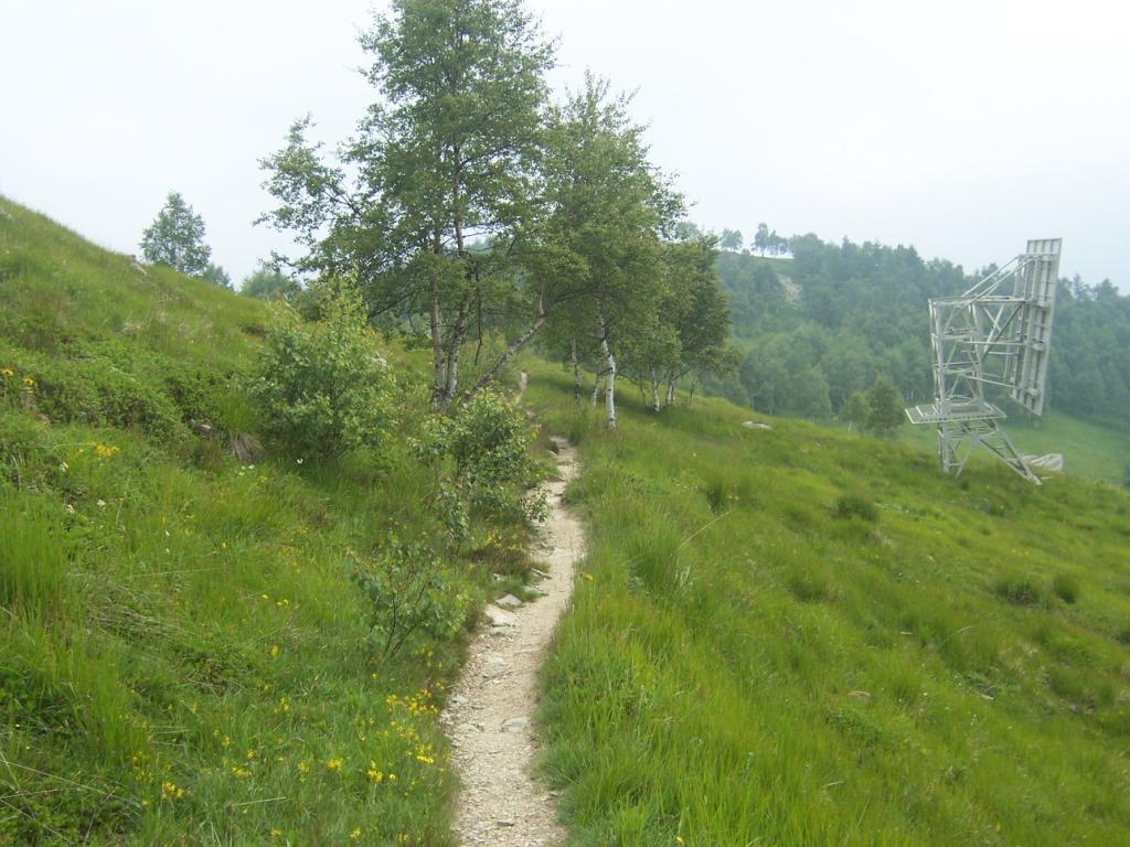 il sentiero padalabile che scende agli alpeggi santa Barbara