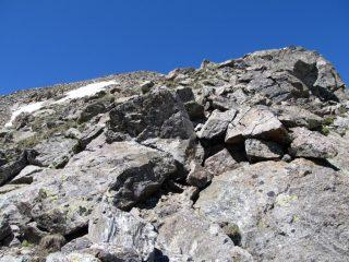la parte rocciosa della cresta