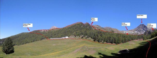 01- Percorso tra Col di Replan e Colle Plan Fenetre vistodall'alpe Chamolé