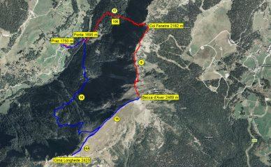 Mappa itinerario con traccia GPS e numerazione sentieri