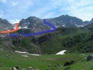 In blu l'itinerario sbagliato. In arancio quello corretto.(dal laghetto)