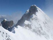 la bella cresta finale che dalla cima italiana 4020m. porta a quella svizzera 4048m