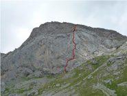 la parete ed il tracciato della via