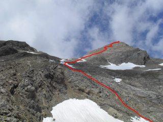 in rosso il percorso finale fra nevaietti e pietraie....