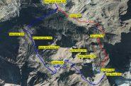 Immagine satellitare con traccia GPS, rosso andata, blù ritorno