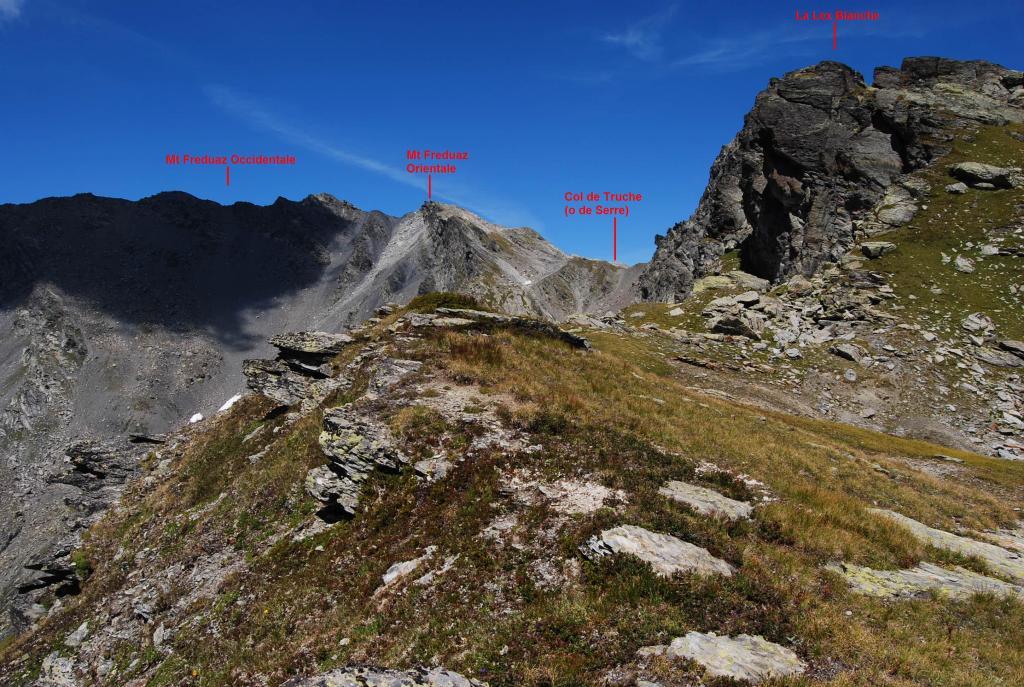Il lato francese del Mt Freduaz, visto dal Passage de la Louie Blanche