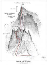 Disegno della cresta sud della Grand Ruine