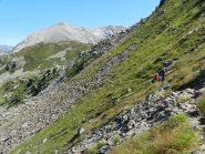 Il lungo traverso sotto la cima Verosso