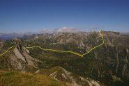 L'alta Valle Onsernone con il percorso indicato in giallo