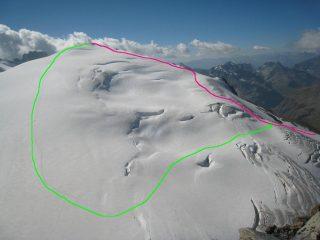 I due possibili percorsi, visti dalla Tete Blanche