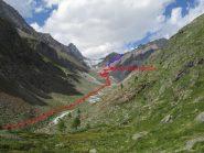 Percorso di avvicinamento al Rifugio Aosta (visto dal lato opposto)