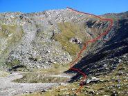Il Monte Ferra dal lago Reisassa con l'itinerario indicativo seguito