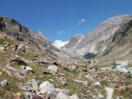 il lungo vallone per il rif. Aosta