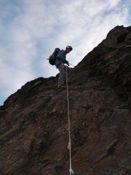 corda in discesa dal Mont Cordine