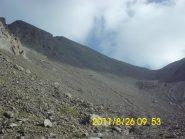 Il colle 3153 m, e la punta Ciatagnera sulla sinistra
