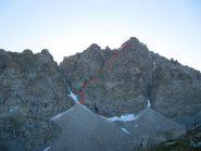vista della cresta Est dal rifugio Sella durante il rientro a Pian del Re